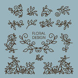 Vector set of floral line design elements for Royalty Free Stock Photo