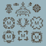 Vector set of floral line design elements for Stock Photography