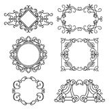Vector set of floral  linear frames. Line art elements for design Royalty Free Stock Images