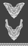 Vector set of floral necklines and lace border design for fashion. Flowers and leaves neck print. Chest lace embellishment Stock Photo