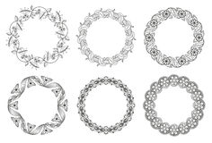 Vector set of floral round elements for ethnic decor Stock Photos