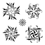 Vector set of floral round ornaments. Royalty Free Stock Photo