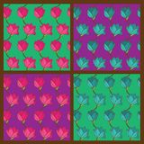 Vector set of floral seamless pattern Royalty Free Stock Photos