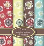 Vector set of floral seamless patterns. Seamless patterns with round flowers in the Asian style. Four color version stock illustration