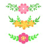 Vector set of floral text dividers. Flowers and leaves. Bouquet design for wedding invitations or greeting cards. Vector. Illustration Royalty Free Stock Photos
