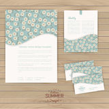 Vector set of floral vintage wedding cards on wood texture, invi Stock Photography