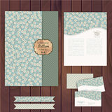 Vector set of floral vintage wedding cards on wood texture, invi Royalty Free Stock Photography