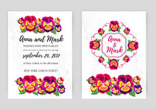Vector set of floral wedding invitations. Design for  invitation, flower shop and beauty salons. Bright pansies on a Stock Image