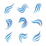 Vector set of flow water blue icons Royalty Free Stock Photography