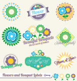 Vector Set: Flower and Bouquet Labels Royalty Free Stock Photos