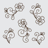Vector set of flower elements Royalty Free Stock Photos