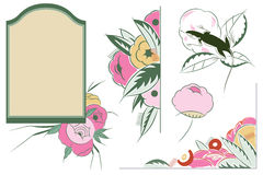 Vector set flower vignette  on different versions Stock Photos