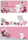 Vector set with flowers and cat Royalty Free Stock Photos