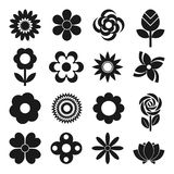 Vector set of flowers. Set of 16 different flowers vector icons  on white background. Elements for web design Stock Image