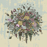 Vector set flowers in doodle style. Bouquet from flowers, leaves, spirals, berries and other elements in style a doodling and zentangl. Abstract invitation Stock Photos