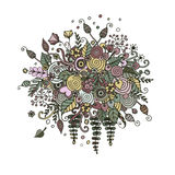 Vector set flowers in doodle style. Bouquet from flowers, leaves, spirals, berries and other elements in style a doodling and zentangl. Abstract invitation Royalty Free Stock Photography