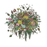 Vector set flowers in doodle style. Bouquet from flowers, leaves, spirals, berries and other elements in style a doodling and zentangl. Abstract invitation Royalty Free Stock Image