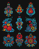 Vector set of flowers and floral composition in Russian Style Stock Image