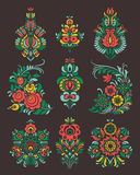 Vector set of flowers and floral composition in Russian Style Royalty Free Stock Photo