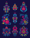 Vector set of flowers and floral composition in Russian Style Royalty Free Stock Photography