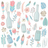 Vector set of flowers, leaves, feathers, bottles and jars. In tender pink, green and blue colors. Hand drawn objects isolated on white background Royalty Free Stock Image
