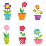 Vector set of flowers in pots Royalty Free Stock Photo