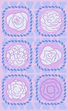 Vector set of flowers with three abstract geometri Stock Photos