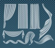 Vector set of fluttering translucent white cloths, soft lightweight clear material and curtains isolated on background. Vector set of realistic fluttering stock illustration
