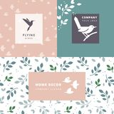 Vector set of flying birds sign. Dark silhouettes isolated and seamless pattern. stock illustration