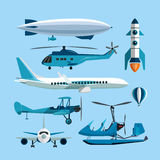 Vector set of flying transportation objects. Hot air balloon, rocket, helicopter, airplane, retro biplane. Design Stock Photography