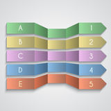 Vector set of folded paper enemerated arrows Stock Image