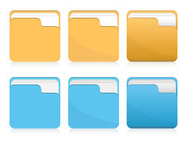 Vector set of folder icons. Vector set of orange and blue folder icons Stock Photo