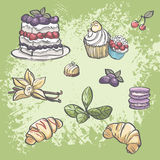 Vector set of food croissants, blackberry pie, muffins, fruit and tea leaves Stock Photos