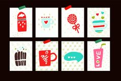 Vector set with food and drink. royalty free illustration