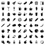 Vector Set of 64 Food Icons. Food and Drinks. Fast Food. Dessert. Vegetables. Fruits. Food sign for Restaurant Menu Royalty Free Illustration