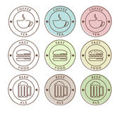Vector set of food icons in outline style Stock Photos