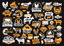 Vector set of food, meat labels, logos, icons, design elements Stock Photos
