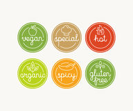 Vector set of food menu badges and labels with hand-lettering an Royalty Free Stock Photo