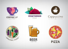 Vector set of food, restaurant logo Royalty Free Stock Photos