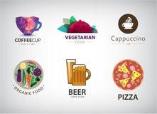 Vector set of food, restaurant logo Royalty Free Stock Photos