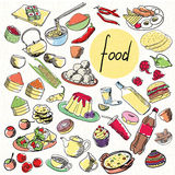 Vector set of food. Food vector set with sweet, sushi and other. Hand drawing stock illustration
