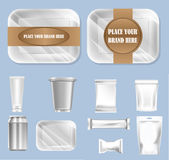 Vector set of food trail and white polyethylene Royalty Free Stock Photos