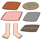 Vector set of foot wipe. Hand drawn cartoon, doodle illustration royalty free illustration
