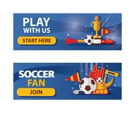 Vector set of football horizontal banners on blue background. Soccer ball, boots, flags and fan accessories. Banners about love to. Football game Royalty Free Stock Images
