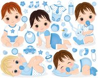 Free Vector Set For Baby Boy Shower.Vector Baby Boy Stock Images - 118447244