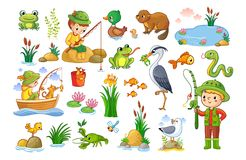 Vector set on a forest children theme. Royalty Free Stock Image