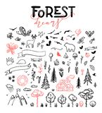 Vector set of forest hand drawn doodles royalty free illustration