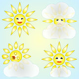 Vector set of four abstract weather icons with sun Royalty Free Stock Photos