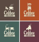 Vector set of coffee banners for coffeehouse. Vector set of four banners for coffeehouse with the lettering fresh brewed and with silhouettes of vintage mobile Stock Photography