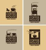 Vector set of coffee banners for coffeehouse. Vector set of four banners for coffeehouse with the lettering fresh brewed and with silhouettes of vintage mobile Stock Image